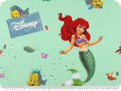 Disney fabric, The little mermaid, mint, 140cm