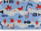Decoration fabric, sea life, fish, red and blue, 140cm