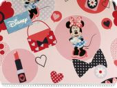 Disney fabric, Minnie Mouse, blue-rose-red, 140cm
