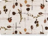 Decoration fabric, flowers and spices, digital print, 140cm