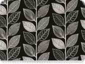 Jacquard deco fabric, black and white, flowers, 140cm