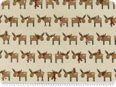 Christmas fabric, reindeers , ecru-brown, 140cm