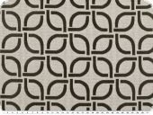 Jacquqrd deco fabric, geom. pattern, black and white, 140cm