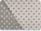 Jacquqard deco fabric, dots, white-grey, 140cm
