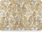 Decoration fabric,ornaments and flowers, ecru-mustard, 140cm