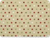Christmas-deco fabric with lurex, small stars, ecru, 140cm