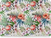Panama deco fabric, flamingos, digital print, white multicol