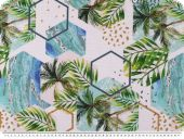 Panama deco fabric, palms, digital print, white multicol