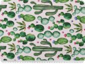 Panama deco fabric, cactusses, digital print, white-green