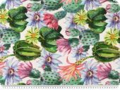 Panama deco fabric, colourful cactusses, digital print