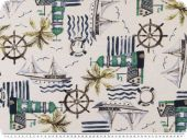 Deco fabric, maritime, white- multicoloured, 140cm