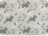 Jacquard deco fabric, dogs, light grey-black, 140cm