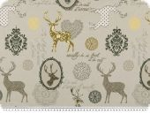 Jacquard deco fabric, deers, ecru-yellow-brown, 140cm