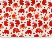 Decoration fabric, elephants, white-red, 140cm