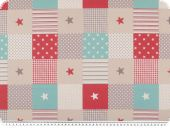 Deco fabric, stars-stripes-dots, red-blue-beige, 140cm