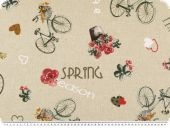 Deco fabric , 'I like cycling', ecru, 140cm
