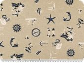 Deco fabric , nautic theme, ecru-blue, 140cm