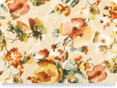 Deco fabric, painted flowers, ecru-multicolour, 140cm