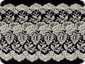 Embroidery on knitted fabric, white-silver, 230mm