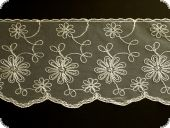 Lace, flower embroidery on knitted fabric, ecru, 150mm