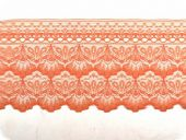 Lace, flower embroidery on knitted fabric,salmon, 60mm