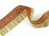 Brocade  border, ribbon with fringes, 60mm, gold-red