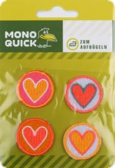 Appliqué, little hearts, neon, 4 pieces