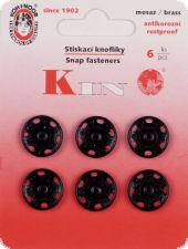Sew-on snap fasteners, 15mm, black, 6pcs.