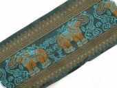 Jacquard ribbon, animals, olive, 100mm