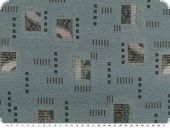 Jacquard upholstery fabric with squares, blue-green, 140cm