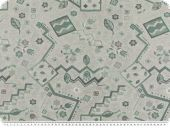 Jacquard upholstery fabric, flowers, emerald-multicol.,140cm