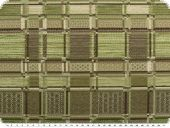 Chenille upholstery fabric with squares, green-brown,140cm