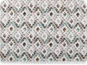 Velour upholstery fabric 'Soft', diamonds, white-green-grey