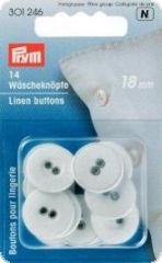 Linen buttons, 'linen', Ø 18mm, white, 14pcs.