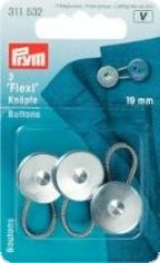 Flexi buttons, 3 Pieces, Metal, Rust Protected, 19mm