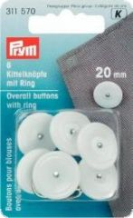 Overall buttons, with fastening ring, 20mm, white, 6pcs.