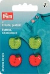 Buttons embroidered, apples, red-green, 4 pieces