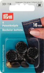Bachelor buttons, 13 Stars brass, black oxidized 16mm, 4pcs.