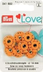 Sew-on snap fasteners, 16mm, orange, 4pcs.