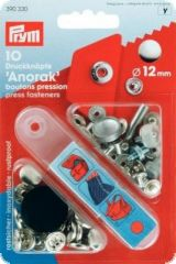 Press fasteners 'Anorak', Ø 12mm, silver, 10pcs.