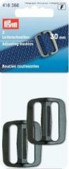 Adjusting buckles, strong, 30mm, black, 2 pieces