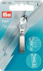 Zip puller, classic, silver anodised