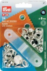 Eyelets with washers, 24 pcs., silver, 8 mm inside Ø