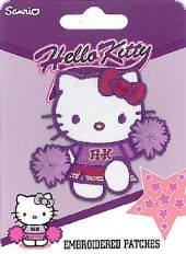 Embroidered Patch, Cheerleader Hello Kitty, purple