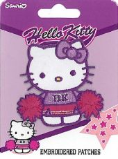 Embroidered Patch, Cheerleader Hello Kitty, purple-fuchsia