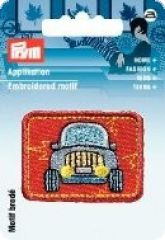 Embroidered motif, car, multicolour, for ironing on
