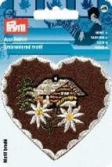 Embroidered motif, heart, house, multicolour, for ironing