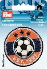 Embroidered motif, Football, multicolour, for ironing on