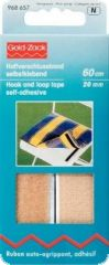 Hook and loop tape, self-adhesive,  20mm, L:60cm, beige