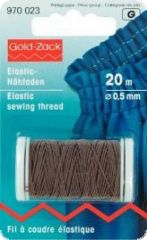 Gold Zack elastic-sewing thread, 0,5mm,  L.: 20m,  brown